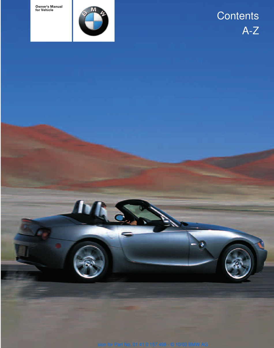 BMW 2004 Z4 2.5I OWNER'S MANUAL Pdf Download | ManualsLib