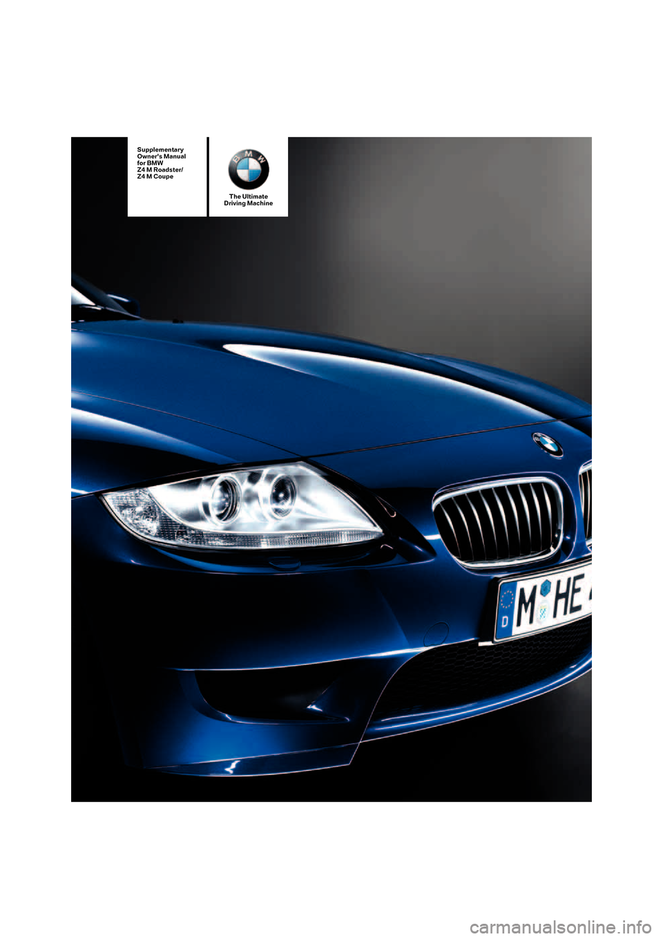 BMW Z4M COUPE 2007 E86 Owner's Manual (50 Pages)