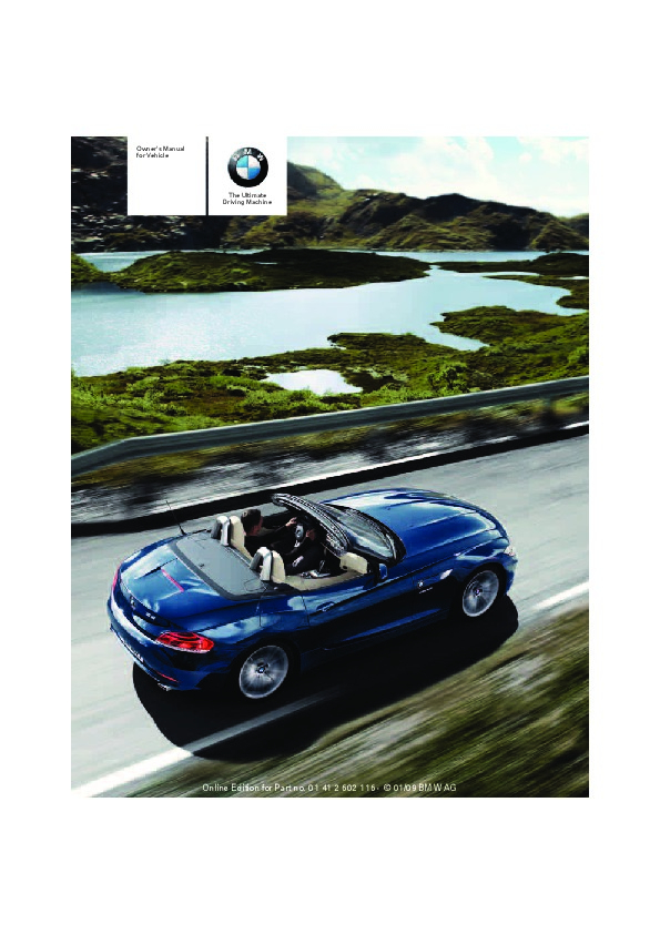 2009 BMW Z4 SDrive 30i 35i E89 Owners Manual