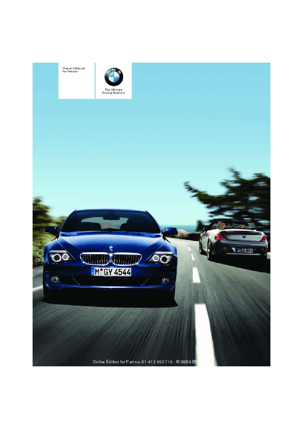 2010 BMW 6 Series 650i Owners Manual