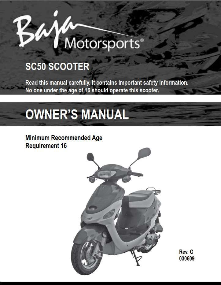 Baja Scooter SC50 Owner s Manual Has Been Published On