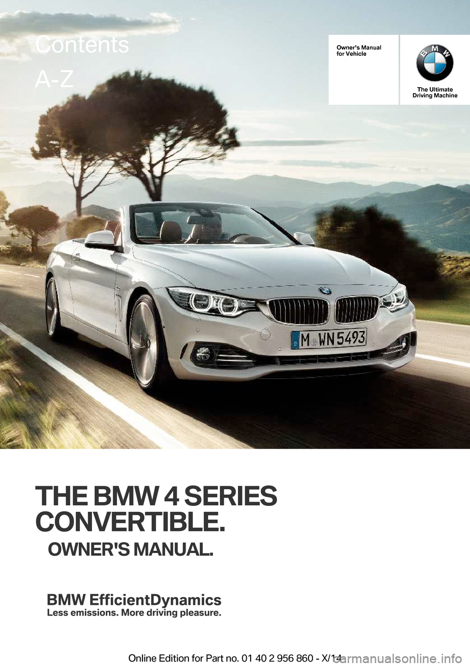 BMW 4 SERIES CONVERTIBLE 2014 F33 Owner's Manual (244 Pages)