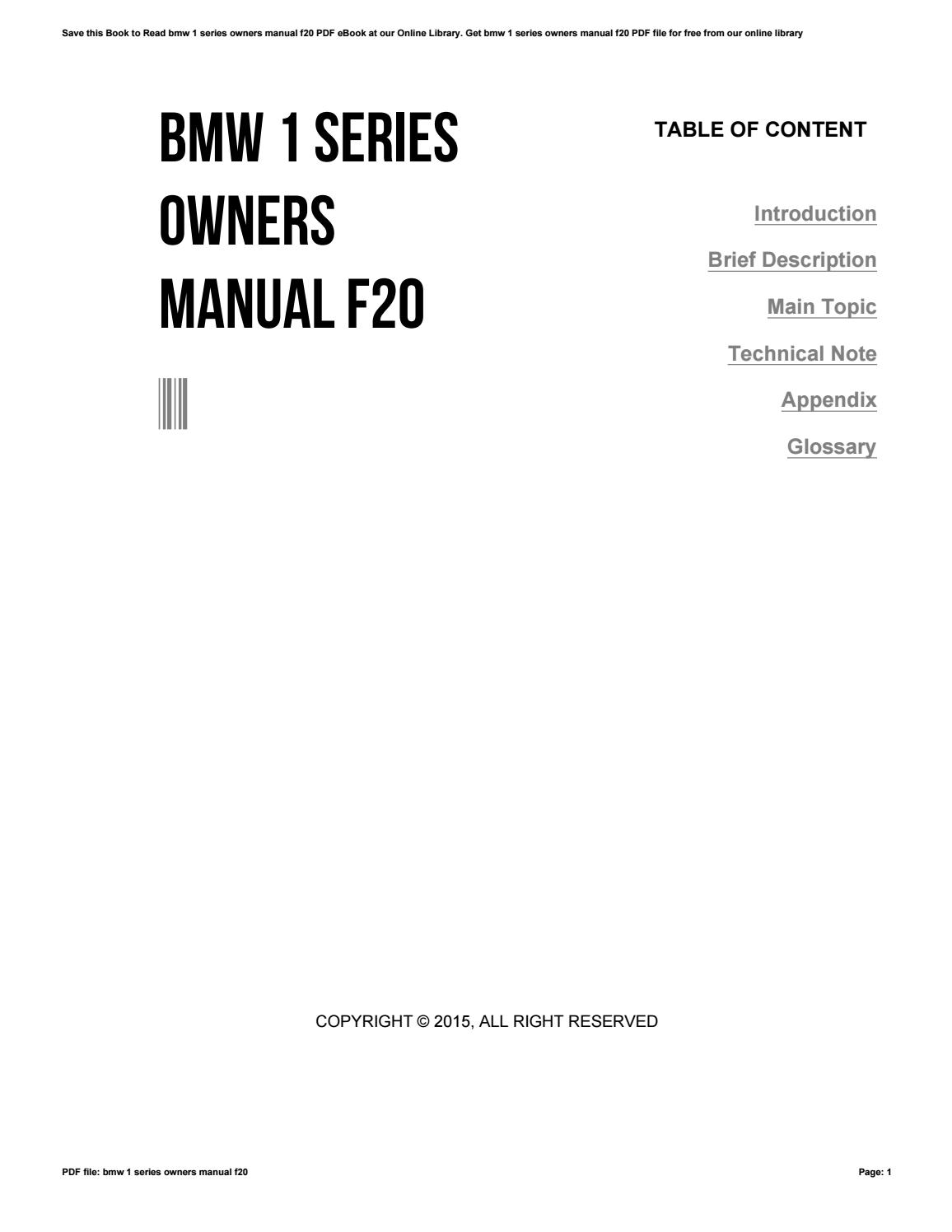 Bmw 1 series owners manual f20 by dfg639 - issuu