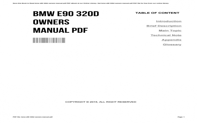 BMW 320d E90 Owners Manual Pdf Volkswagen Owners Manual