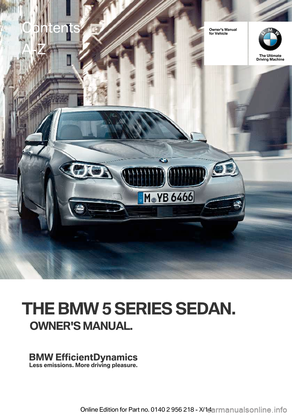 BMW 5 SERIES 2014 F10 Owner's Manual (273 Pages)
