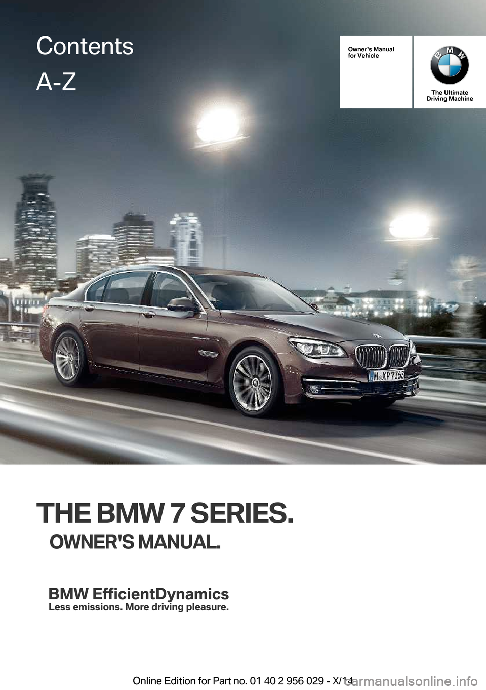 BMW 7 SERIES 2014 F01 Owner's Manual (265 Pages)