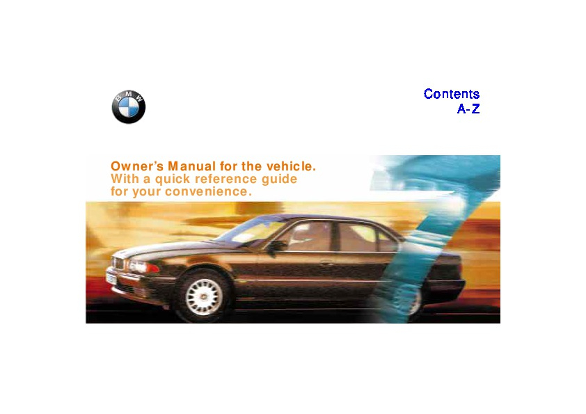 1997 BMW E38 740i 750iL Owners Manual