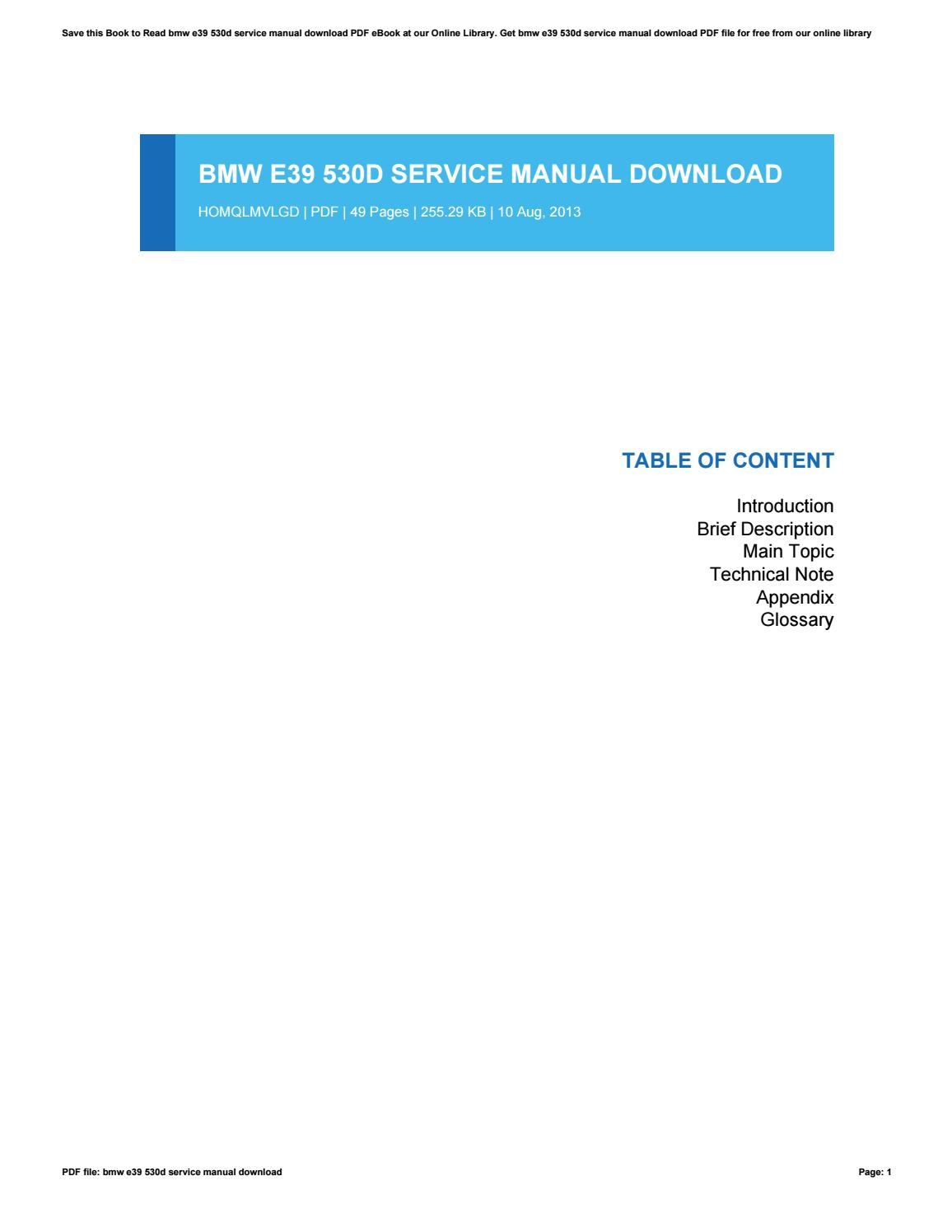 Bmw e39 530d service manual download by SaraSeery4145 - issuu