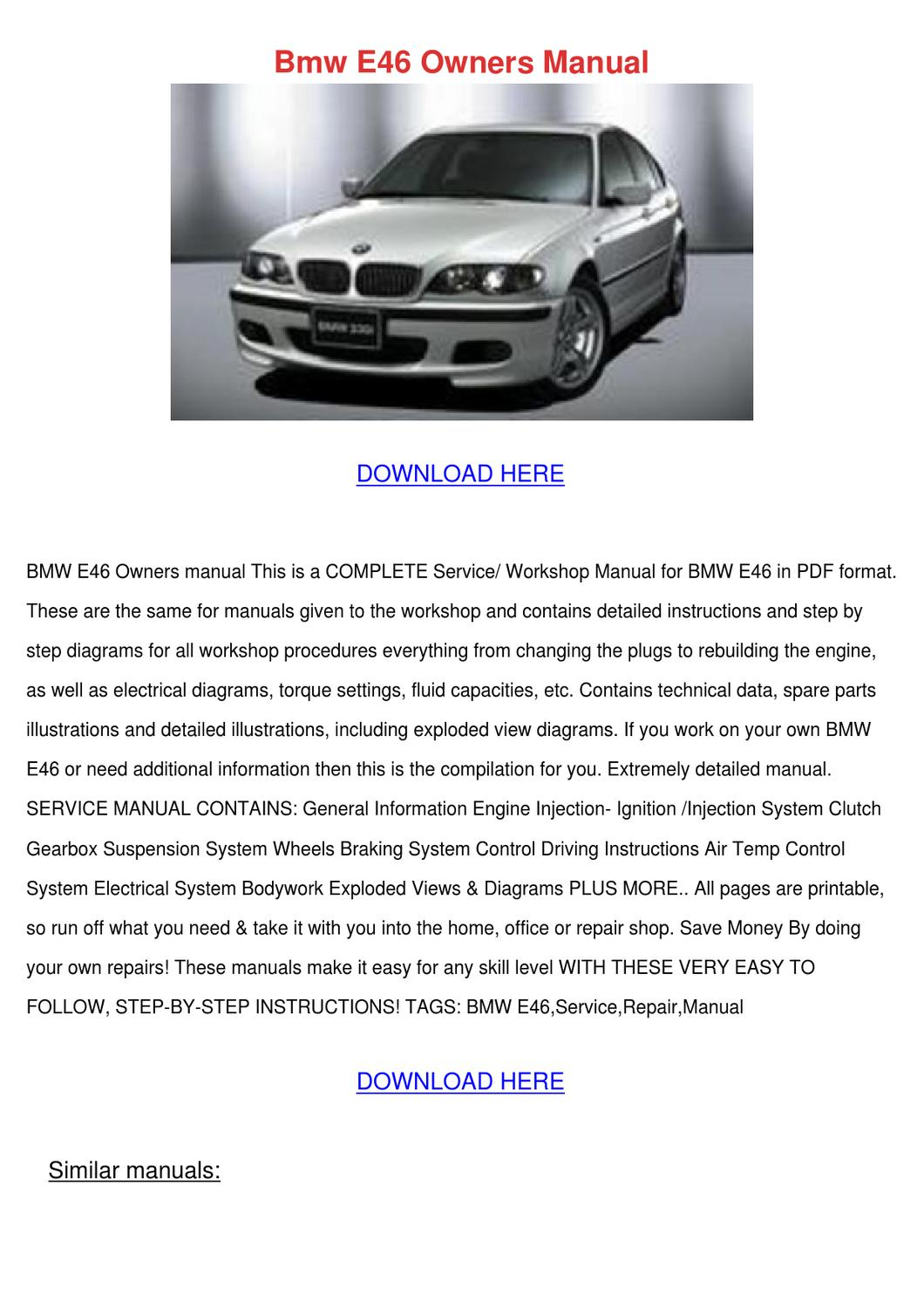 Bmw E46 Owners Manual By GraceFincher Issuu