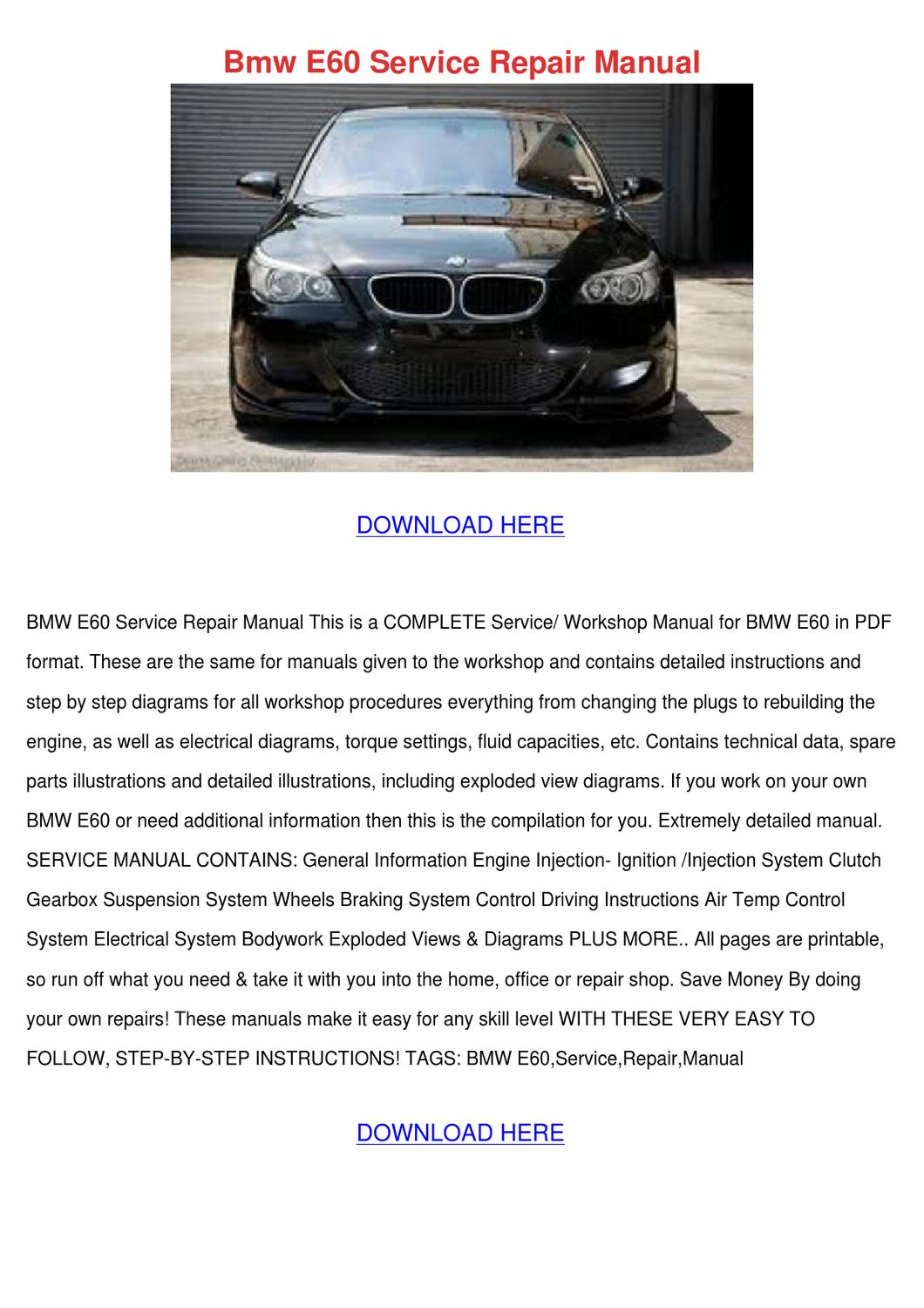 Bmw E60 Owners Manual Pdf Overtheroadtruckersdispatch