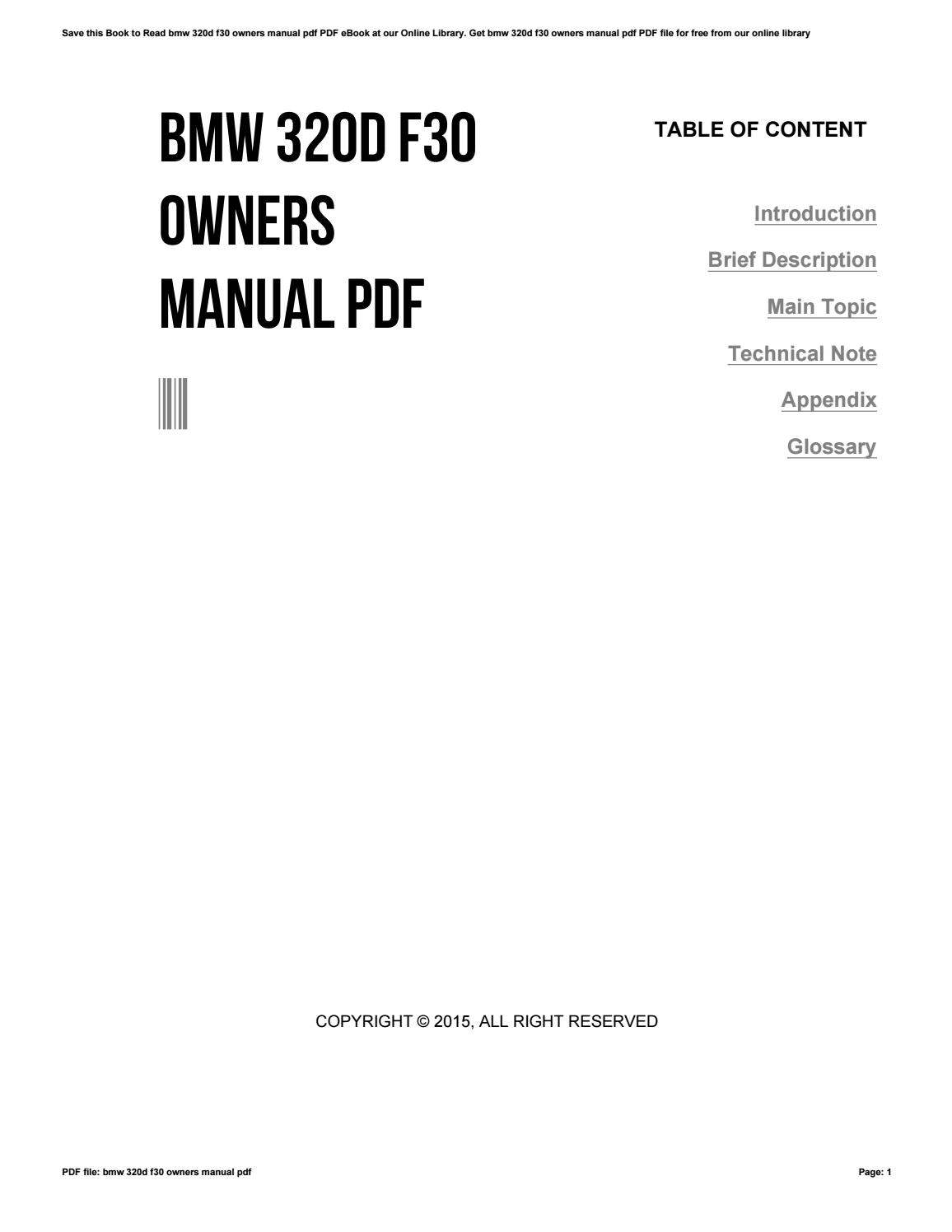 Bmw 320d F30 Owners Manual Pdf by andrewoconnor741 - issuu