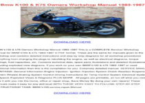 BMW K100 Owners Manual Download Volkswagen Owners Manual