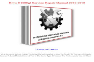 BMW K1600gt Owners Manual Pdf Owners Manual