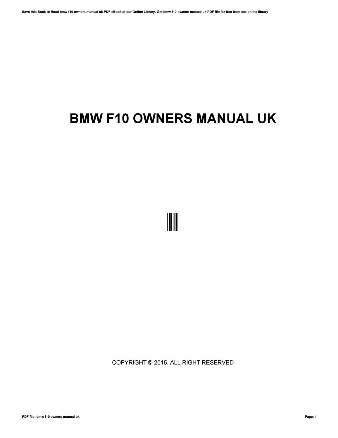 Bmw f10 owners manual uk by rblx43 - issuu