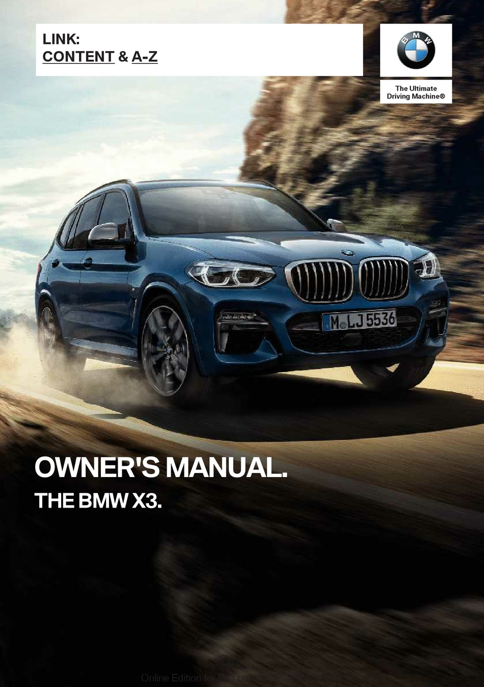 BMW X3 2018 OWNER'S MANUAL Pdf Download | ManualsLib