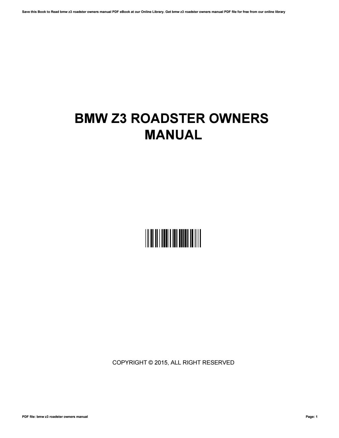 Bmw z3 roadster owners manual by NancyBrink1958 - issuu